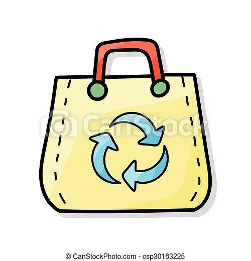 リサイクルされる, 買い物袋, いたずら書き - csp30183225