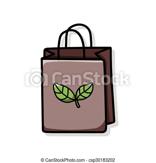 リサイクルされる, 買い物袋, いたずら書き - csp30183202