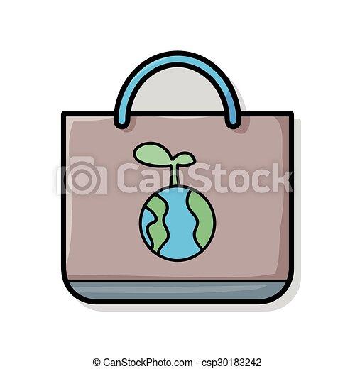 リサイクルされる, 買い物袋, いたずら書き - csp30183242