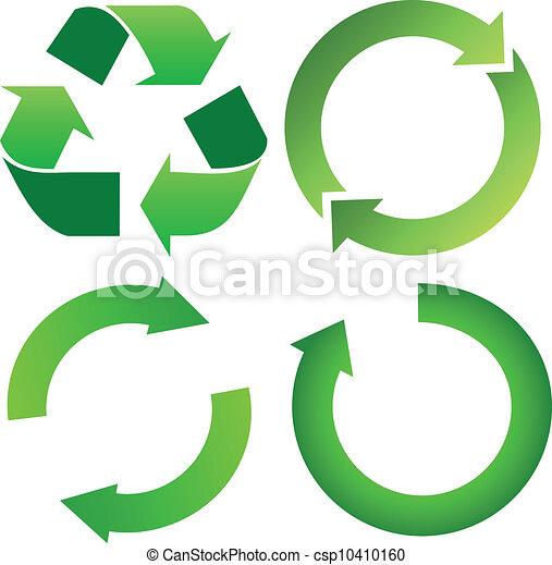 リサイクルしなさい, セット, 緑, 矢 - csp10410160