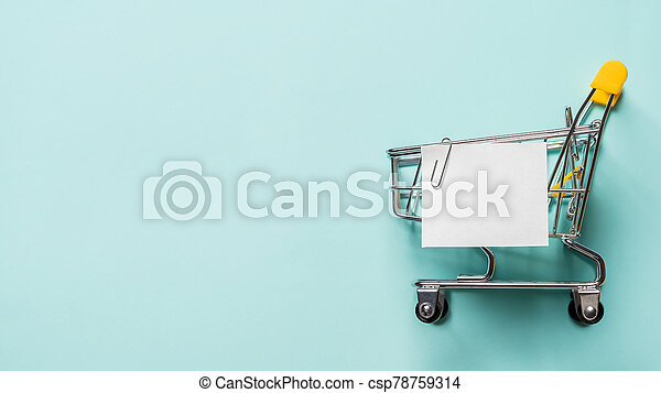 リスト, 青, ペーパーノート, カート, 買い物, 白 - csp78759314