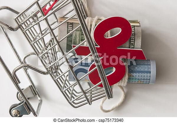 リボン, 結ばれた, cart., 現金, ミニ, 回転した, 買い物 - csp75173340