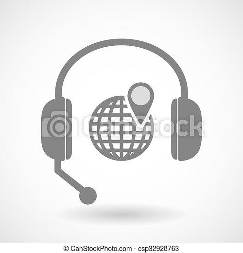 リモート, ヘッドホン, 地球, アイコン, 世界, 援助 - csp32928763