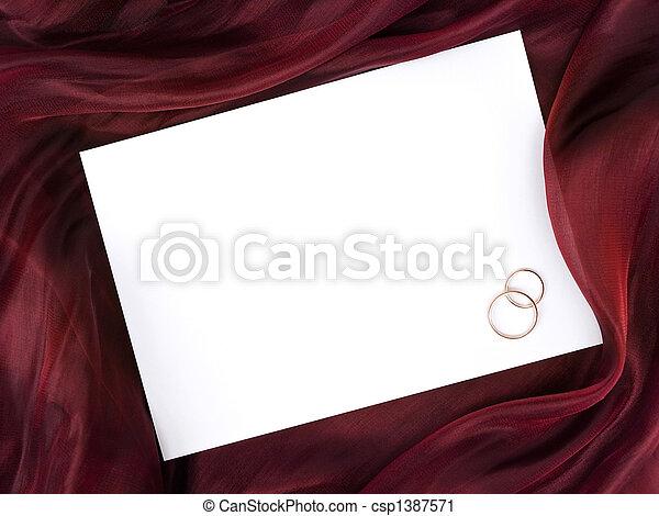 リング, 絹, 結婚式, 2, フレーム, 白 - csp1387571