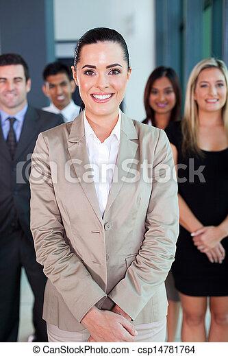 リーダー, 女性, ビジネス, 背景, チーム - csp14781764