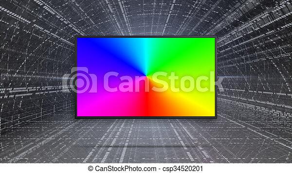 リードした, カラフルである, tv, rgb, ディスプレイ, 対照 - csp34520201