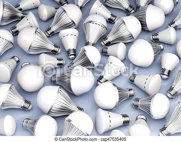 リードした, 電球, 別, タイプ, ライト - csp47535405