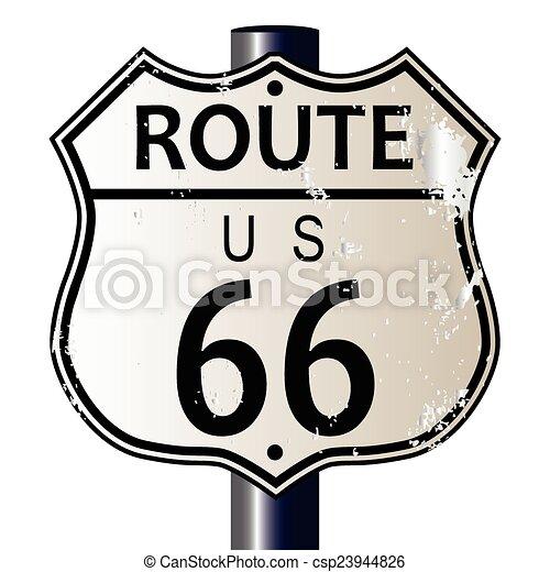 ルート66, ハイウェーの 印 - csp23944826