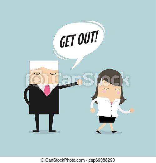 レイオフ, 失業者, 概念, 怒る, 発砲, 仕事, 上司, 縮小, 概念, vector., employee., 従業員 - csp69388290