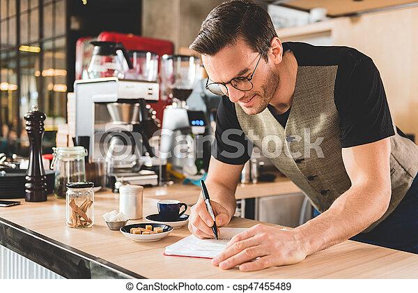 レシピ, 執筆, 飲料, おいしそうである, 人, 幸せ - csp47455489