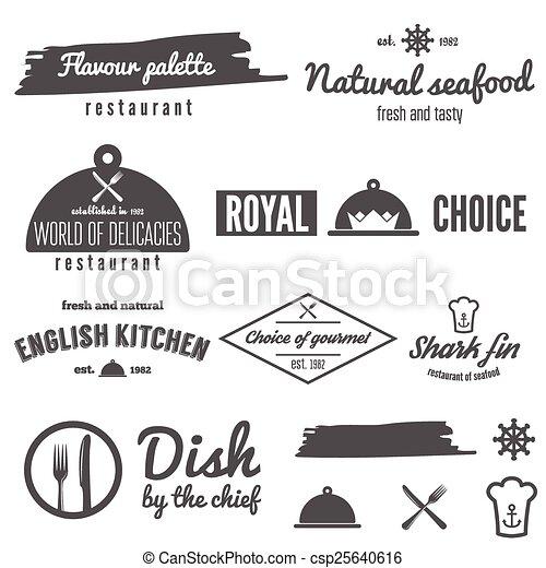 レストラン, バッジ, セット, 紋章, logotype, 要素, バー, カフェ ...