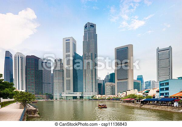 レストラン, 波止場, 超高層ビル, シンガポール - csp11136843
