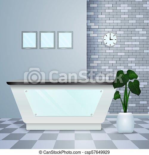 レセプション, 内部, 医院, 現実的, 現代 - csp57649929