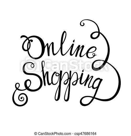 レタリング, 概念, 買い物, デザイン, 背景, オンラインで, あなたの - csp47686164