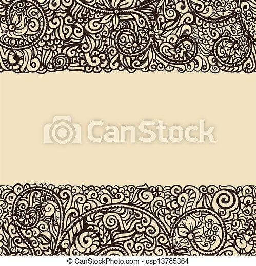 レトロ, テンプレート, インク, 花, 図画, カード - csp13785364