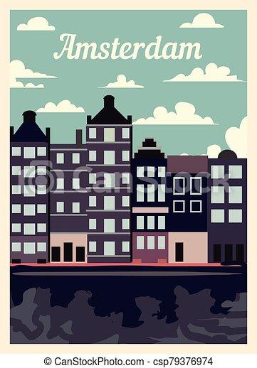 レトロ, 型, illustration., ベクトル, ポスター, 都市, アムステルダム, スカイライン - csp79376974