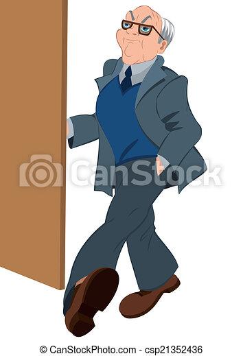 レトロ, 開始, 老人, ドア, 情報通 - csp21352436