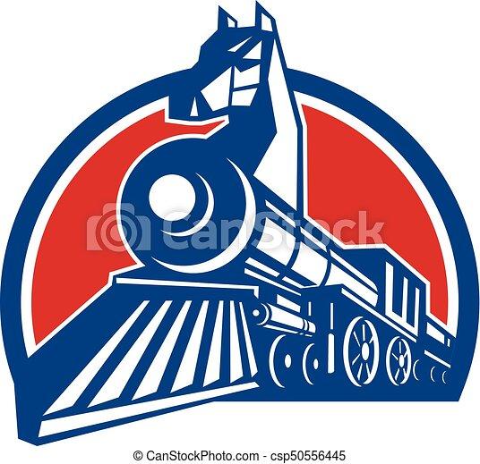 レトロ, 馬, 円, 鉄, 機関車 - csp50556445