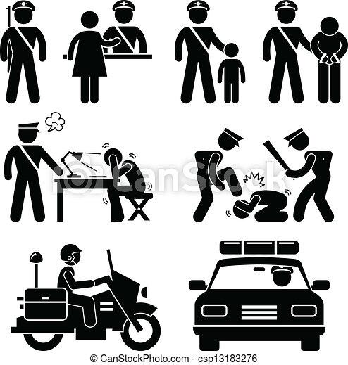 レポート, 駅, 警察, 警官 - csp13183276