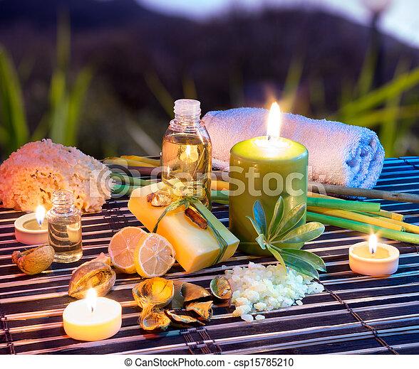 レモン, c, 塩, タオル, , 石鹸, オイル - csp15785210