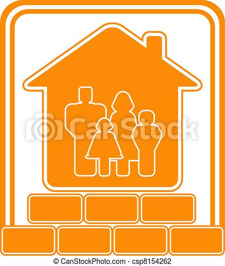 レンガ, 家コンストラクション, 印 - csp8154262