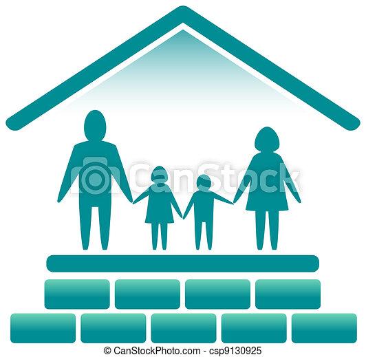 レンガ, 家, 家族 - csp9130925