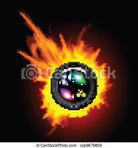 レンズ, カメラ, 燃焼 - csp9679859