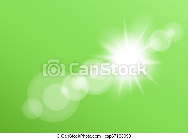 レンズ, ライト, bokeh, 緑の背景 - csp67138993
