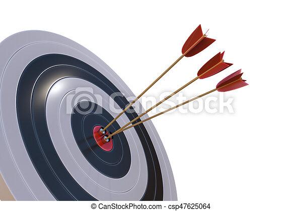 レンダリングした, ターゲット, 隔離された, イラスト, arrows., ほんの少し, 3d - csp47625064