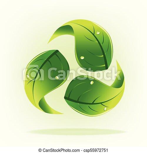 ロゴをリサイクルしなさい, エコロジー, leafs, 自然 - csp55972751
