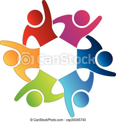 ロゴ, アイコン, チームワーク, 幸せ, 人々 - csp34345743