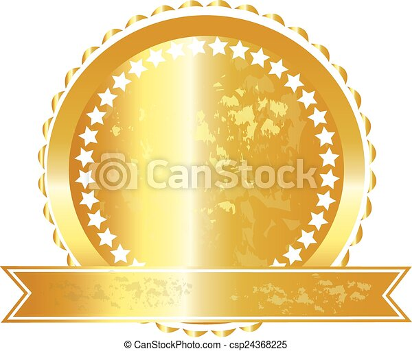 ロゴ, グランジ, リボン, 金のシール - csp24368225