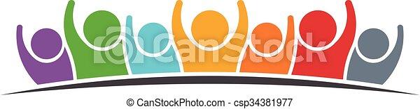 ロゴ, グループ, 人々 - csp34381977