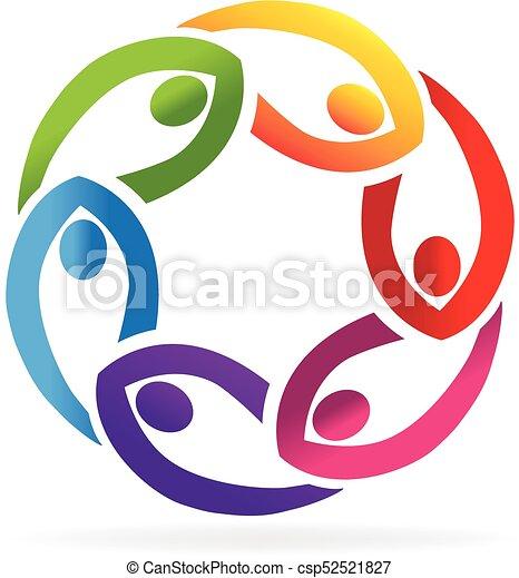 ロゴ, サポート, チームワーク, 人々 - csp52521827