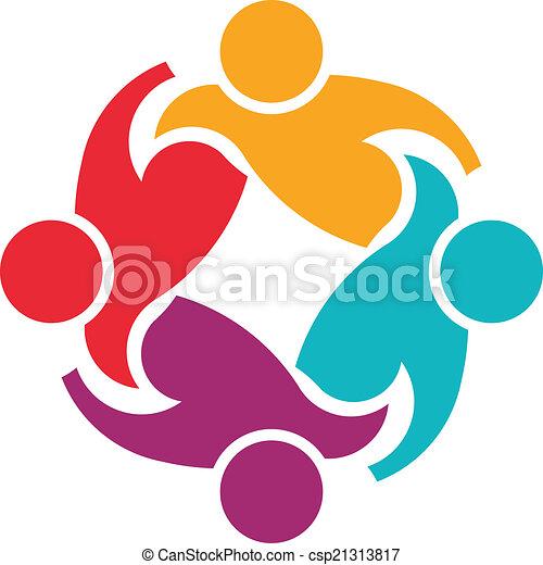 ロゴ, サポート, チームワーク, 4, イメージ - csp21313817