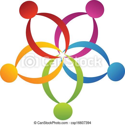 ロゴ, サポート, 花, チームワーク - csp16607394
