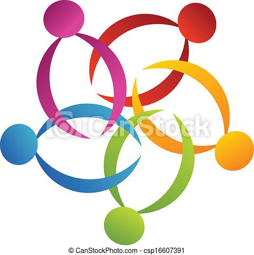 ロゴ, サポート, 2, チームワーク, 花 - csp16607391