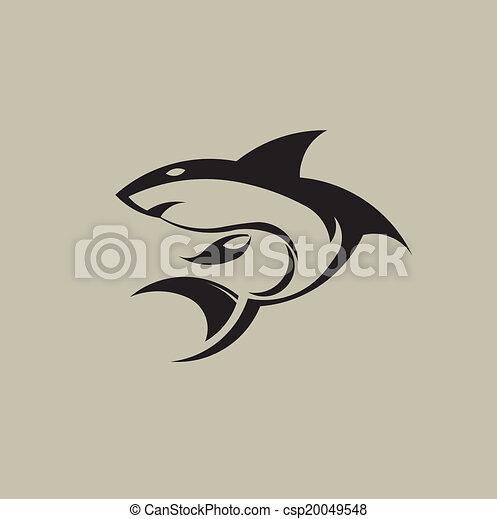 ロゴ, サメ, image. - csp20049548