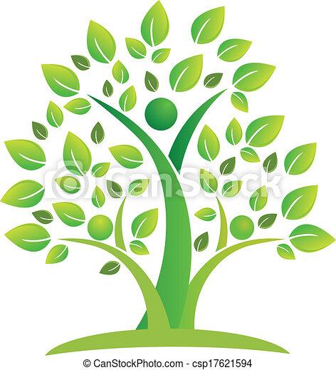 ロゴ, シンボル, チームワーク, 木, 人々 - csp17621594