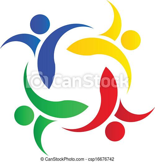 ロゴ, チームワーク, カラフルである, 人々 - csp16676742