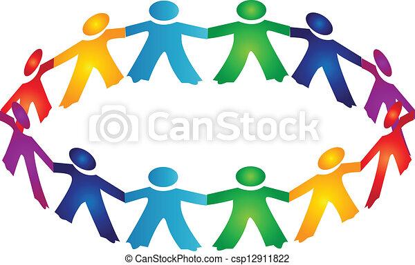 ロゴ, チームワーク, 人々 - csp12911822