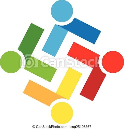 ロゴ, チームワーク, 人々 - csp25198367