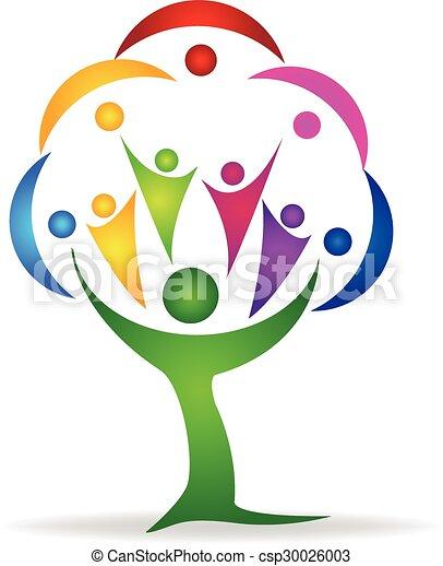 ロゴ, チームワーク, 人々, 木 - csp30026003