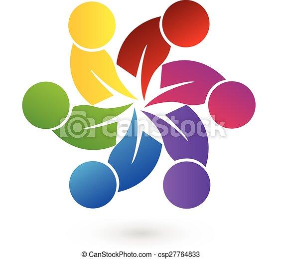 ロゴ, チームワーク, 人々 - csp27764833