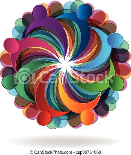ロゴ, チームワーク, 共同体 - csp30761060