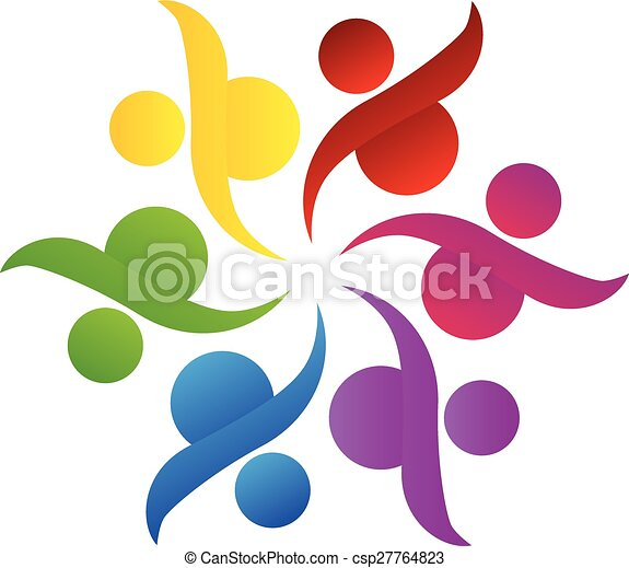 ロゴ, チームワーク, 助け, 共同体 - csp27764823
