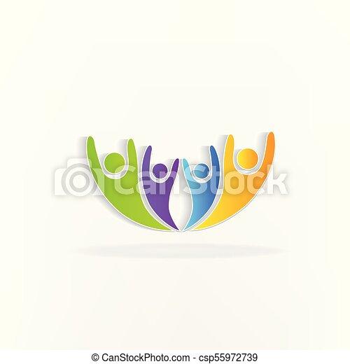 ロゴ, チームワーク, 幸せ - csp55972739