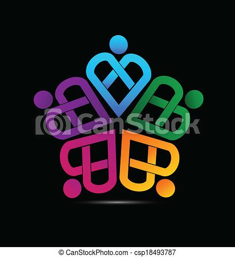 ロゴ, チームワーク, 心, ベクトル - csp18493787