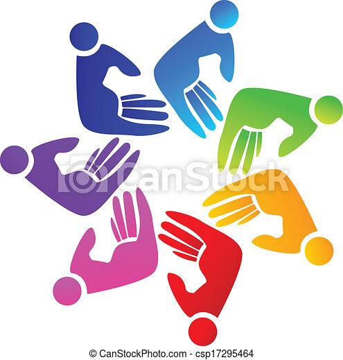 ロゴ, チームワーク, 手 - csp17295464