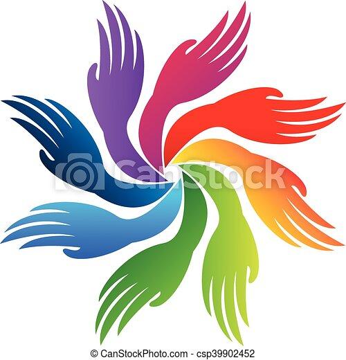 ロゴ, チームワーク, 手 - csp39902452